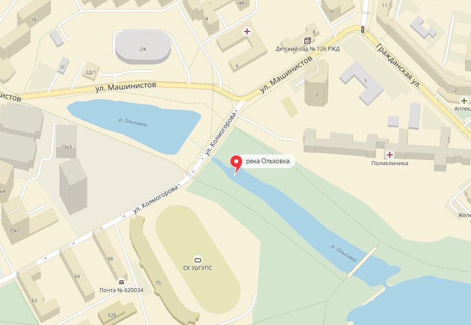 Река Ольховка на карте Екатеринбурга