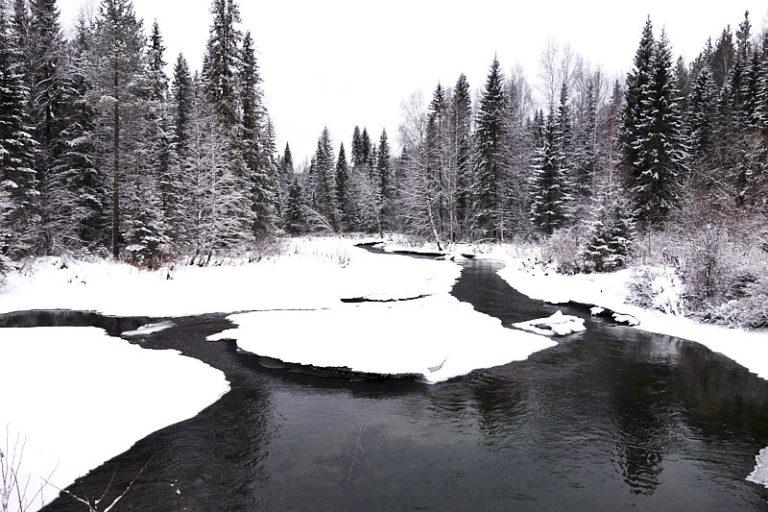 Река Тошемка зимой